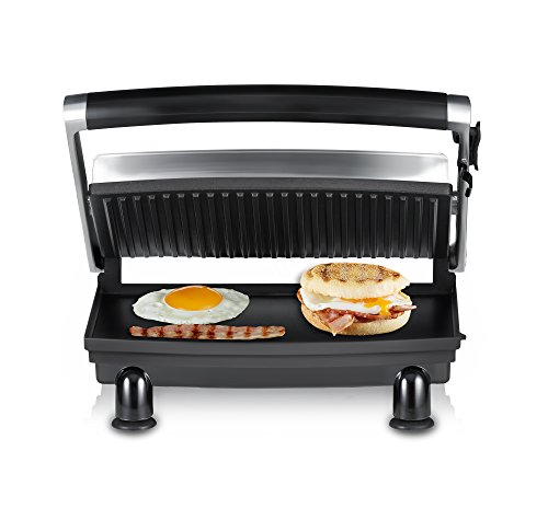 Sunbeam GR8210 Sandwich Compact Cafe Grill, Stainless Steel