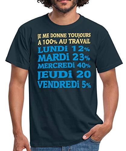 Toujours À 100% Au Travail T-Shirt Homme, M, Marine