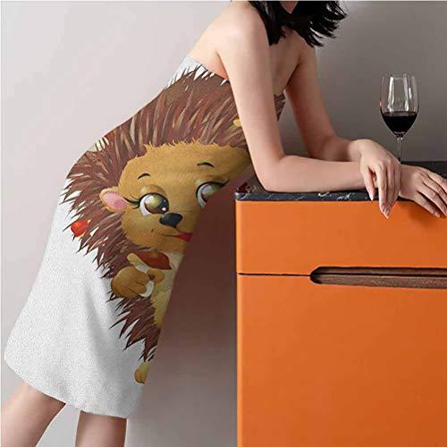 "27"" W x 54"" L Hedgehog Best Bath Towels Longer Lasting Towels Hedgehog Holding Mushroom with a Basket of Autumn Foods Animal Fun Cartoon Pale Caramel Brown"
