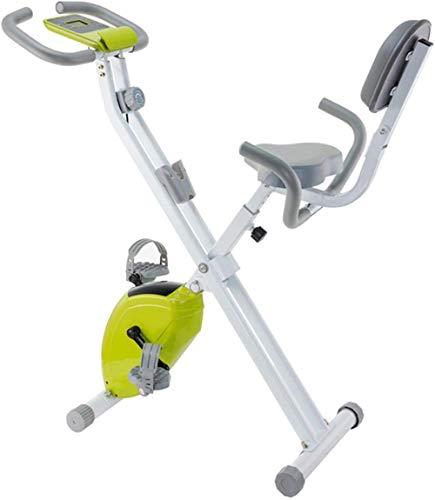 Bicicleta estática para interiores, plegable, magnética, vertical, reclinable, con asiento cómodo, soporte para teléfono y tableta, ligero