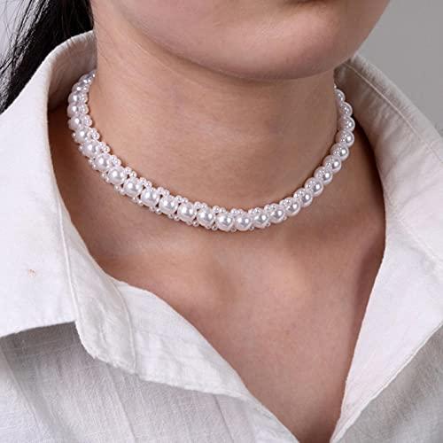 SONGK Collar de Gargantilla con Nudo de Lazo y Flor de Perla Delicada, Cadena Larga, corazón de Perlas, Colgante de Moneda de Oro, Collares para Mujer, joyería de Moda