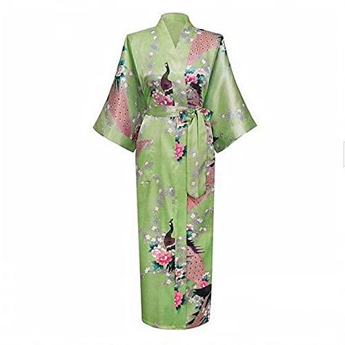 Sexy Bata Larga para Mujer con Bolsillo Boda Novia Dama de Honor Bata Kimono Albornoz de Gran tamaño S-XXXL Vestido de Noche-Light Green 1-2-M
