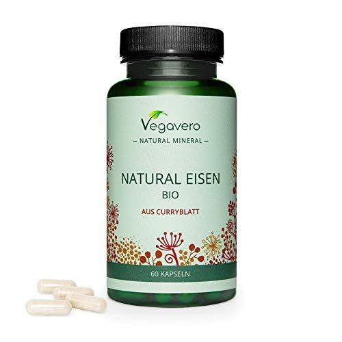 Vegavero ® Natürliches Eisen | Aus BIO Curryblatt-Extrakt – NICHT SYNTHETISCH | Vegan | 60 Kapseln (2 Monate) | 14 mg pro Kapsel | Gegen Müdigkeit* | Ohne künstliche Zusatzstoffe