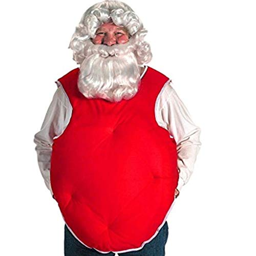 Santa Belly Stuffer Color Red - Halco Fat Suit Vest Claus Washable Satin Lightweight Bundle w Santa Guide