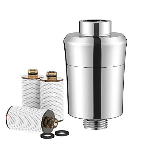 Rainsworth Duschfilter, Kalkfilter Dusche Wasserfilter Wasserhahn, Aktivkohlefaser Wasserfilter mit 3 Filterpatronen Zum Entfernen von Chlor und Schwermetallen