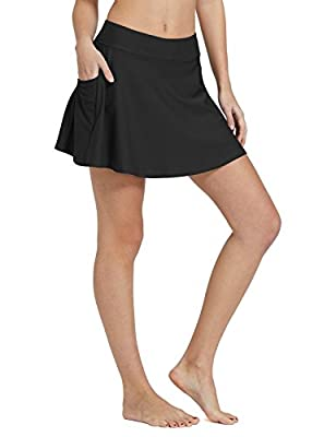 BALEAF Women's High Waisted Swim Skirt Bikini Tankini Bottom with Side Pocket Black Size XXL