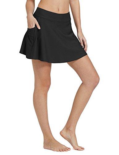 BALEAF Women's High Waisted Swim Skirt Bikini Tankini Bottom with Side Pocket Black Size S