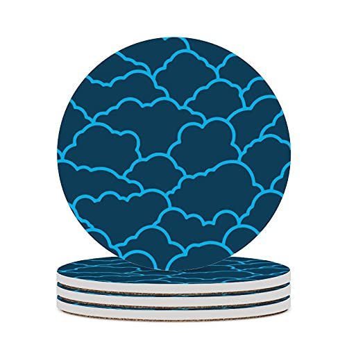 Posavasos para bebidas, nubes, vasos azules, decoración del hogar, corcho, tazas de cocina, protección contra manchas, 4 piezas