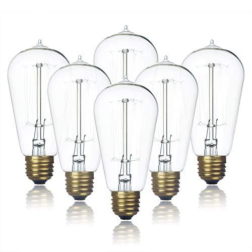 Paquete de 6 bombillas Edison claras, Jslinter 60 W regulable ST58 estilo vintage antiguo, base e26 (60 W/110 V).