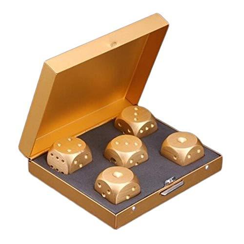 Housesweet 5 in 1 Präzisionswürfel aus Aluminiumlegierung, massives Metall, Poker-Party-Spielzeug, tragbares Würfel, Geschenk für Freund Quadrat gold