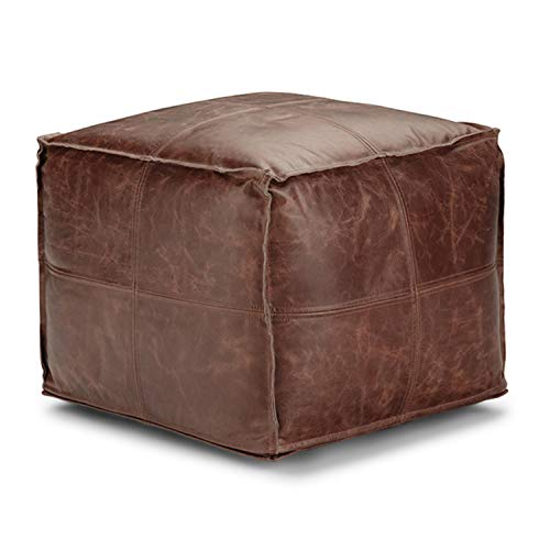 Simpli Home Sheffield Square Pouf, Footstool, Upholstered in Brown Leather, for the Living Room, Bedroom and Kids Room, Transitional, Modern