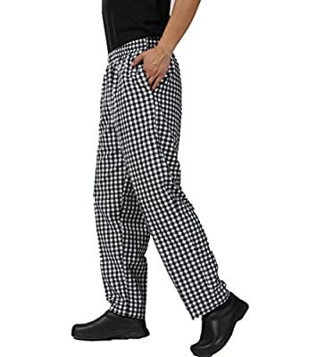 JXH Chef Uniforms Men's Black White Checkered Chef Pants Elastic Waist