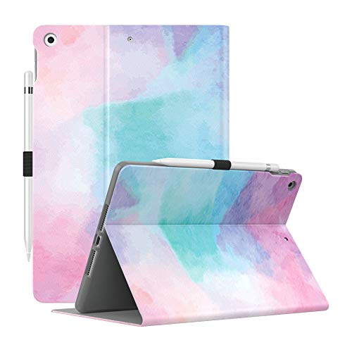 Dadanism Case Fit iPad 8th Generation Case 2020/iPad 7th Generation Case 2019 [Multi-Angle Viewing Stand] Slim Shock Proof Protective Cover Soft TPU Back, Fit iPad 10.2 inch 2020/2019, Water Color
