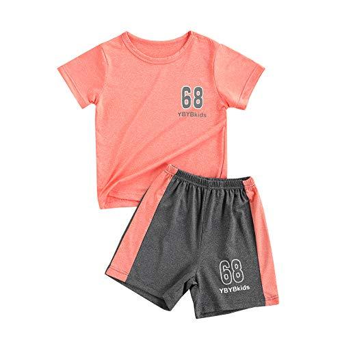 Conjunto de ropa casual de dos piezas para niños, traje deportivo de manga corta, cuello redondo y pantalones cortos para niños y niñas, 6 años-12 años