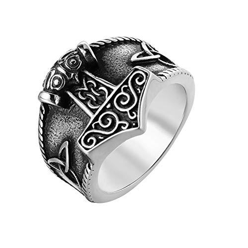 BBYaki Anillo Martillo de Thor Amuleto Nudo Celta Vikingo Acero Inoxidable para Hombres Joyas de Mujer,9