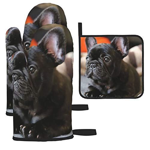 French Bulldog Oven Mitts and Pot Holders 3pcs Set for Kitchen, Cooking, Baking, BBQ