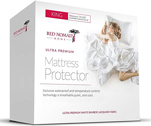 Red Nomad Waterproof Mattress Protector - Bamboo Hypoallergenic Bed Cover with Breathable Cooling Cycle Technology for Maximum Circulation and Comfort - King Size