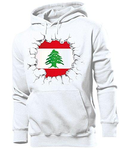 love-all-my-shirts Fussball Fanhoodie Libanon 5739 Männer Herren Hoodie Pulli Kapuzen Pullover Fanartikel Weiss S