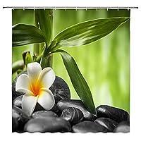 春禅シャワーカーテン、竹緑の葉蘭石浴室防水シャワーカーテン浴槽装飾 S.1 90x180cm