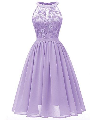Viloree Damen Neckholder Floral Spitze Brautjungfern Partykleid Ärmellos Cocktail Kleid Lavendel M