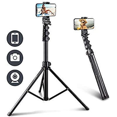 UBeesize 67'' Phone Tripod Stand & Selfie Stick Tripod, All in One Professional Cell Phone Tripod, Cellphone Tripod with Bluetooth Remote and Phone Holder, Compatible with iPhone, Android Phones from UBeesize
