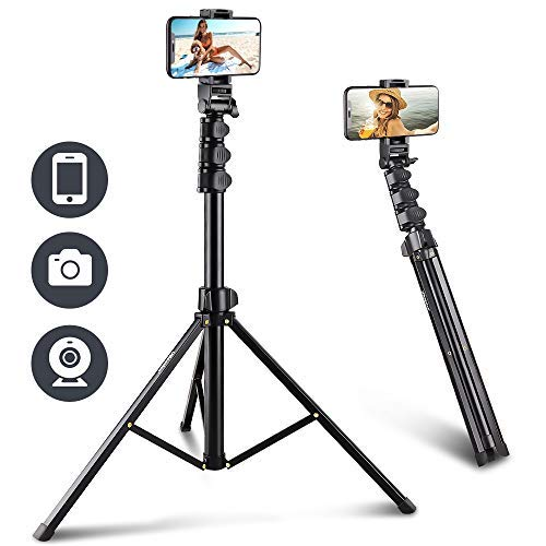 UBeesize 67'' Phone Tripod Stand & Selfie Stick Tripod, All in One Professional Cell Phone Tripod, Cellphone Tripod with Bluetooth Remote and Phone Holder, Compatible with iPhone, Android Phones