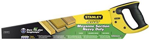 Stanley JetCut Handsäge grob (550 mm Länge, 7 Zähne/Inch, Bi-Material, Hardpoint-Verzahnung, 45°/90°-Anschlag) 2-15-289