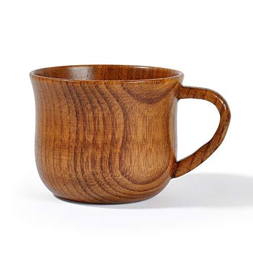JIAYOUA Kaffeebecher, Holzbecher, 175Ml Retro Teebecher, Massivholzgriff Weinglas
