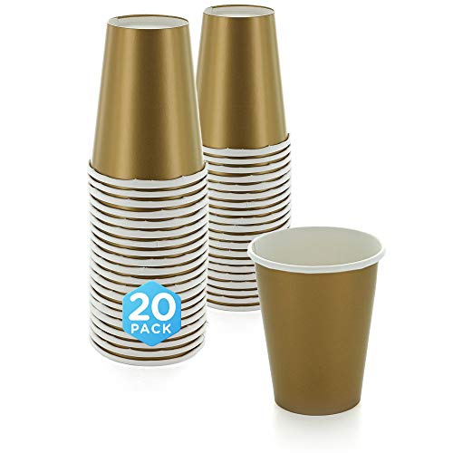 SparkSettings Disposable Paper Cups Drinking Paper Cup for Both Hot and Cold Beverages Perfect for Coffee, Tea, Water or Juice - Gold, Pack of 20