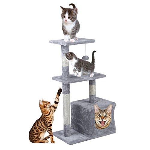 blackpoolal Kratzbaum mit Großer Aussichtsplattform, Kletterbaum mit Liegemulde und Kuschelhöhle, Robuste Vergrößert Katzenstreu-Hängematte Kleiner Katzenkletterrahmen