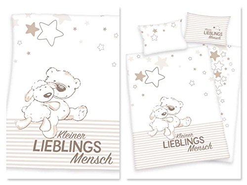 Baby-Bettwäsche Set Lieblingsmensch mit passender Kuscheldecke l 3-teilig l 100x135 cm