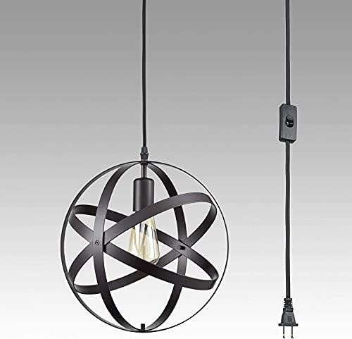 WEM Lámpara de araña decorativa novedosa, cable de luz colgante industrial retro con enchufe, accesorio de lámpara colgante duradero, pantalla de lámpara de jaula esférica de metal negro, accesorios