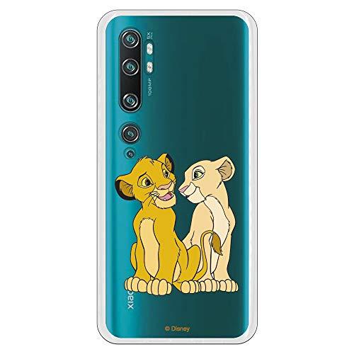 Funda para Xiaomi Mi Note 10-10 Pro Oficial de El Rey León Simba y Nala Silueta para Proteger tu móvil. Carcasa para Xiaomi de Silicona Flexible con Licencia Oficial de Disney.
