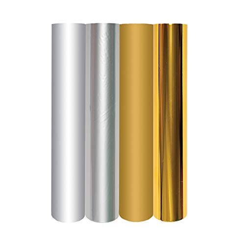 Spellbinders GLF-011 Hot Foil 4 Rolls-Metallic Gold & Silver Variety Pack Glimmer Heißfolienrolle, Gold- und Silberfarben, By The Yard