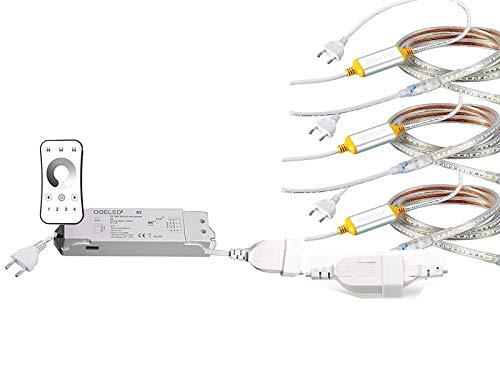 Ogeled 1-50m Neon LED Strip Warmweiß Neutralweiß Kaltweiß ohne Lichtpunkte Wasserfest Innen/Außen 230V Dimmbar (Zubehör, mit 1 Dimmer zu 3)