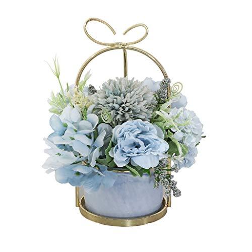 Künstliche Blume Nordic Gefälschte Blume Simulation Flower Set Wohnaccessoires, Tischkunstseide-Blumen-Keramik-Vase, Blumenschmuck Blumenstrauß Mini Artificial Kleine Topfpflanze Ewige Blume
