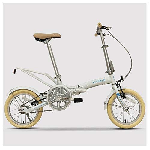 NENGGE Kleines Klappfahrrad, 14 Zoll Erwachsenen Damen Single Speed Klapprad Fahrrad, Ultraleicht Klapprad Tragbare, Leicht und Robust,Weiß