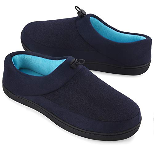 VONMAY Men's Slippers House Shoes Moccasin Warm Woolen Memory Foam with Adjustable Drawstring Indoor Outdoor, Navy Blue, Size 13