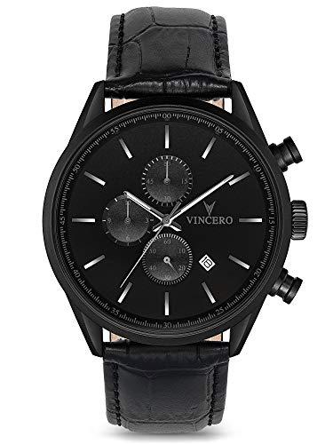 Vincero Herren Chrono S Chronograph Quarz Uhr Mit Lederband - Mattschwarz