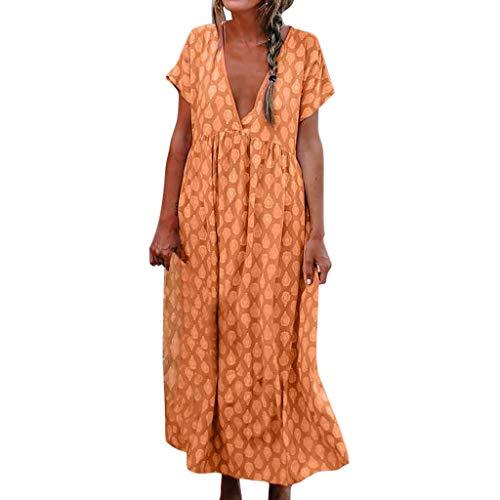 Damen Lange Sommerkleider Freizeit Kleid Casual Baumwolle Leinen Mode Print V-Ausschnitt Kurzarm Baggy Lose Strand Kleider Kaftan Kleid Luftiges Kleid Florydays Kleider Leinenkleid Orange 2XL