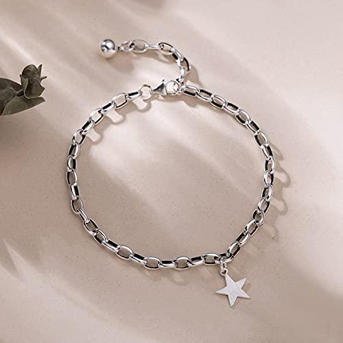 Elnker 925 Pulsera Colgante de Estrellas de Plata esterlina con un Poco de Bola de Cuentas para Las Mujeres