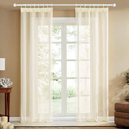 Topfinel Transparente Visillos da Panels Modernas Visillos para Ventanas Cortinas Dormitorio con Plisado de Lápiz 2 Piezas 140x240cm Crema
