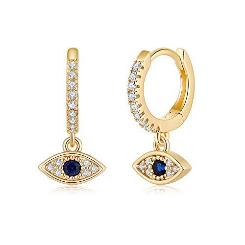 Blue CZ Evil Eye Earrings, Tiny 14K Gold Plated Huggie Hoop Earrings Eye charm gold hoops Cz Evil Eye Huggie Earrings Hypoallergenic Earrings Sapphire Hoops Gold