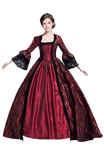 Huiyemy Damen Langarm Renaissance Mittelalter Kleid, Gothic Viktorianischen Königin Kostüm,...