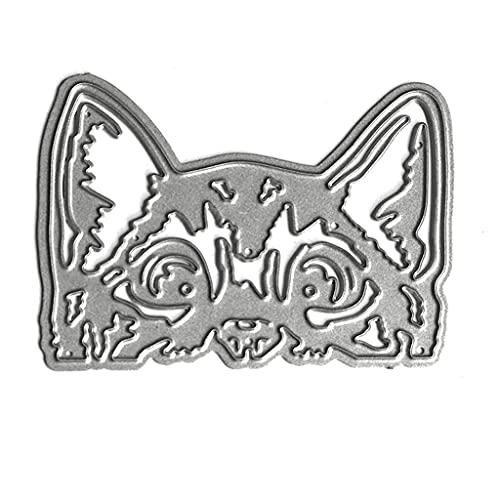 Boji Stanzschablone, Katzenkopf Metallschneidwerkzeuge Schablone Scrapbooking DIY Album Stempel Papier Karte Form Präge Dekoration
