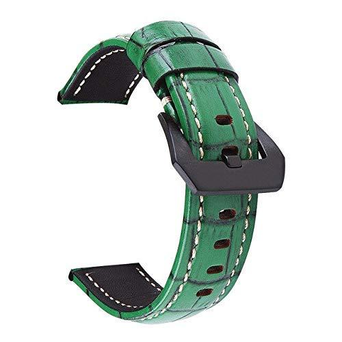 Correa de reloj DIY para Samsung Galaxy Gear S3 de 22 mm de cuero Galaxy 42 de 46 mm de correa de reloj deportiva de 24 mm de 26 mm, color azul, correa de reloj de 26 mm (color: verde, tamaño: 22 mm)
