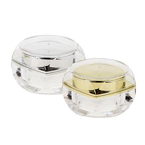 Sharplace 2 Pièces Boîte Acrylique Vide à Lèvres Baume Pots Maquillage Cosmetique à Crème Bocal Flacon Conteneur Pommade Nail Art Paillette - 10g
