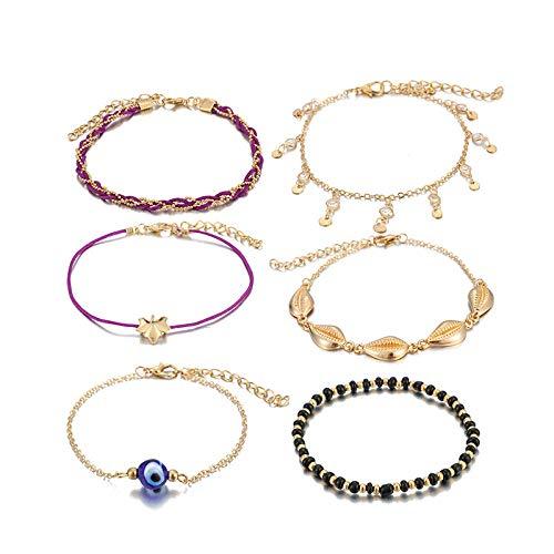 U/N Bohemian Ankle Bracelets Set Multilayer Eye Shell Beads Charm Chain Knitted Bracelets Women Anklet Foot Jewelry Gift 6Pcs