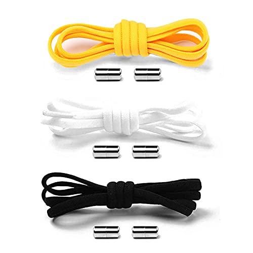 SHULLIN 3 cordones elásticos con cierre de metal ajustable, cordones universales para hombres, mujeres, niños, personas mayores (negro, blanco y amarillo)