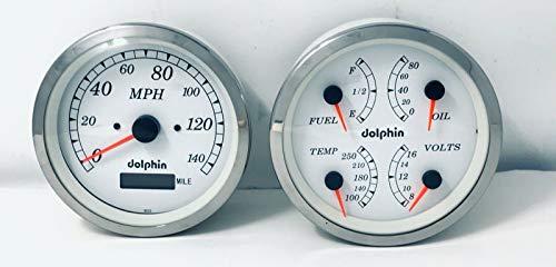 """Dolphin Gauges 5"""" GPS - Hot Rod - Street Rod - Quad Style Gauge Set - White"""